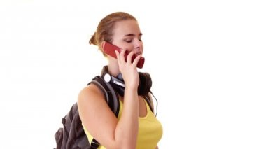Student speaking by cellphone — Stok video