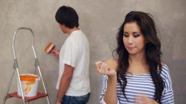 Woman looking her fingernails — Stock Video
