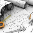 Blueprints and drawing tools — Stock Photo #68336693