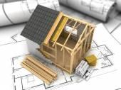 Frame house plan — Stock Photo