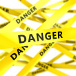 Yellow tape with sign danger — Stock Photo #73337217