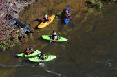 Kayaks Ready to Ride Rapids — Stock Photo
