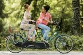 Women riding on bicycle — Stock fotografie