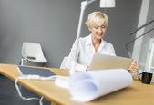 Mujer usando laptop — Foto de Stock