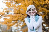 Woman at autumn forest — Stock Photo