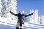 Jeune femme sur la montagne en hiver — Photo