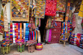 Colorful fabrics on the Agadir market in Morocco — Foto Stock