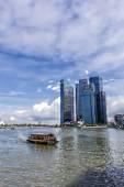 Centro financiero de Marina Bay en Singapur — Foto de Stock