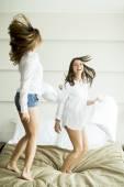 Pillow fighting — Stock Photo