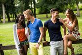 多种族的朋友在公园 — 图库照片
