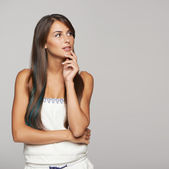 Thinking female looking at copy space — Stock Photo