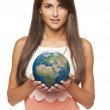 Business woman holding earth globe — Stock Photo #57132241
