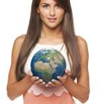 Business woman holding earth globe — Stock Photo #57132241