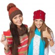 Two winter girls showing blank card — Stock Photo #57381279
