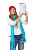 Vrouw nemen selfie — Stockfoto
