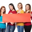 Young people with banner — Stock Photo #62868993