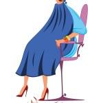 Постер, плакат: Cartoon woman in blue robe with new haircut