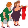 Two fat cartoon women looking on small red dress — Stock Vector #51825991