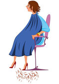 Cartoon  woman in blue robe with new haircut — Stock Vector