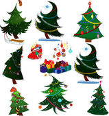 Cartoon Christmas trees with presents — Stock Vector