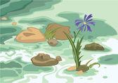 Cartoon flowers stones and brook — Stock Vector