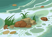 Cartoon grass stones and brook — Stock Vector