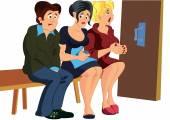 Cartoon people waiting in line — Stock Vector
