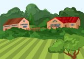 Cartoon village houses with green field and trees — Cтоковый вектор