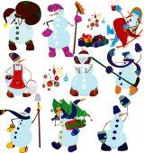 Cartoon snowman set and presents — Stock Vector