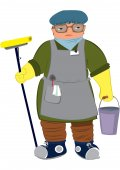 Femme de bande dessinée en gants jaunes avec lavette de plancher — Vecteur