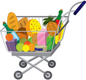 Grocery store shopping cart with food items — Stock Vector