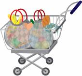 Grocery store shopping cart with full bags — Stock Vector