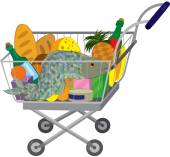 Grocery store shopping cart with food items and fish — Stock Vector