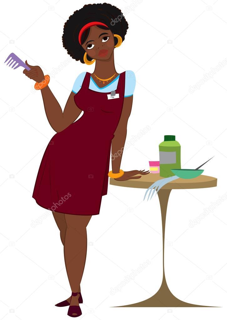 Parrucchiere donna nera di cartone animato in piedi nel