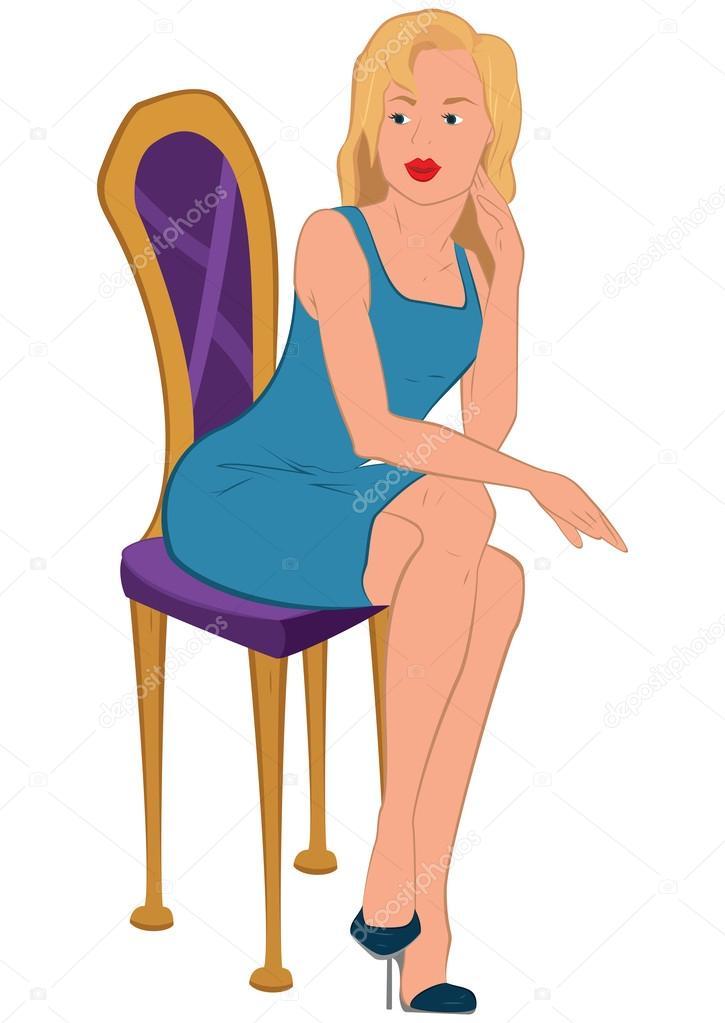 Jeune femme de bande dessin e en robe bleue assis sur une for Assis sur une chaise