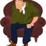 kreskówka mężczyzna w zielona kurtka, siedząc w fotelu — Wektor stockowy  #52789105