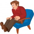Cartoon man in red top and brown pants sitting in armchair — Wektor stockowy  #52789175