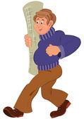 Kreskówka mężczyzna w fioletowy sweter spaceru, uśmiechając się z bułka dywan — Wektor stockowy