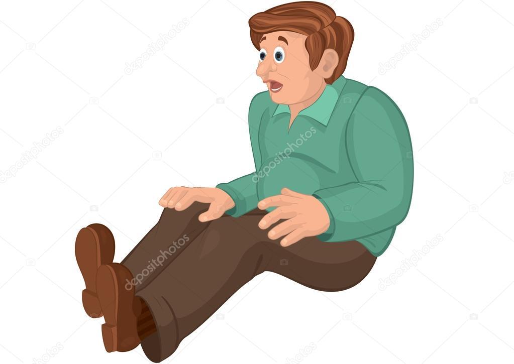 Uomo di cartone animato in pantaloni verdi marroni e alto