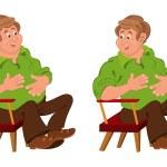 szczęśliwy kreskówka mężczyzna siedzący w fotelu z rąk na żołądek — Wektor stockowy  #53192623