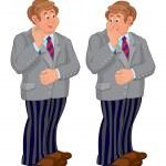 Постер, плакат: Happy cartoon man standing in striped pants