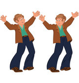 Happy cartoon man standing in blue pants happily holding hands u — Stock Vector