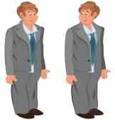 Happy cartoon man standing in gray suit and green tie — Stock Vector