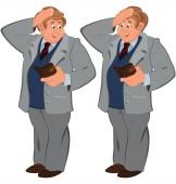 Happy cartoon man standing in gray suite with wallet — Stock Vector