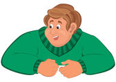 Happy cartoon man torso in green sweater elbows on top — Stock Vector