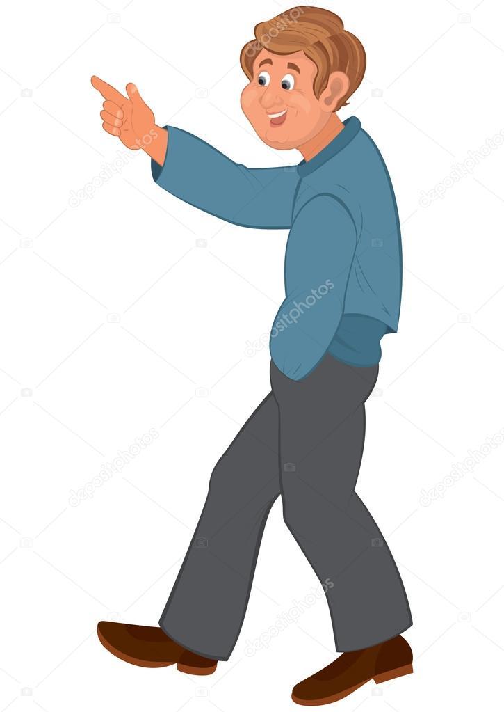 Hombre feliz de dibujos animados caminar y apuntar ...