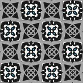 Geometrical Arabian ornament black and white with blue — Wektor stockowy