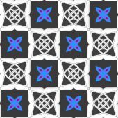 Geometrical ornament with gray squares and blue flower — Stock Vector