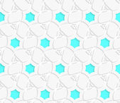 White 3d perforated layered with blue hexagons ornament — Vettoriale Stock