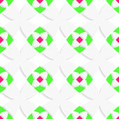 White geometrical ornament with green and pink — Stockvektor